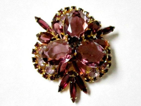 Vintage Layered Purple Plum Rhinestones Brooch Pin Juliana Possible
