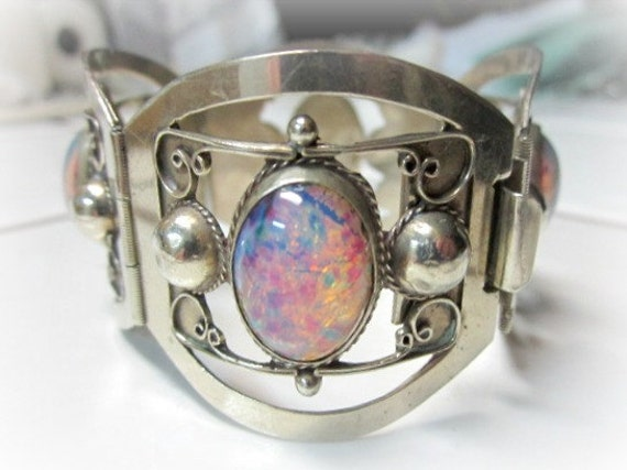 Signed 925 TAXCO Sterling Silver Faux Foiled Back Opal Cabachons Bracelet 6 1/2""