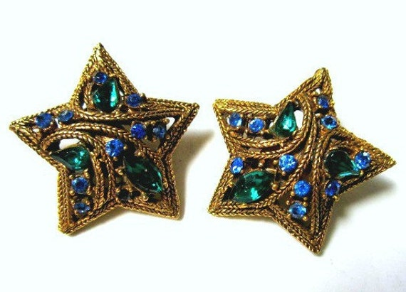 Vintage La Roco Unsigned Blue Green Rhinestone Star Rope Clip Earrings