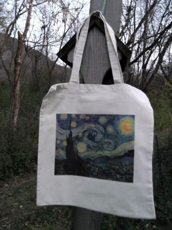 Doctor Who meets Vincent Van Gogh Starry Night TARDIS art tote bag