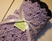 Baby Girl Blanket - Lovey Size Baby Blanket - Lavender with Plum Purple Trim - Hand Crocheted Baby Blanket