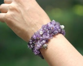 Fertility Bracelet - Amethyst Stretchy CUFF Bracelet, your choice of gemstone dangles and charm