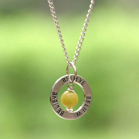 Fertility Necklace - BELIEVE - Your Choice of Gemstone, Fertility Jewelry, Infertility Jewelry, IVF IUI Support, Healing Gemstone, Good Luck