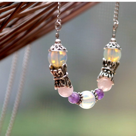 Fertility Necklace - BUTTERFLY - Moonstone, Rose Quartz, Amethyst