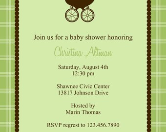 Baby Stroller Shower Invitation