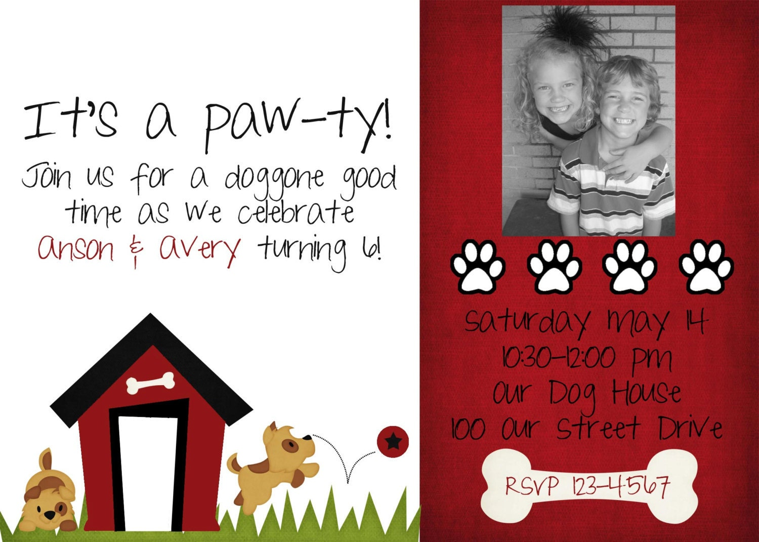 Puppy Dog Theme Birthday Party Invitations Personalized Printable A A ...