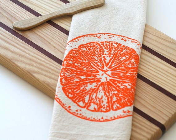 Natural Flour Sack Tea Towel - Orange Slice - Hand Screen Printed