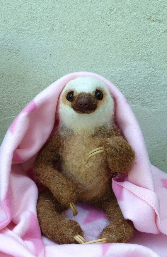 Needle Felted Life Size Two Toed Sloth Baby Girl Reserved