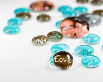 CUSTOM: LARGE & SMALL Glass Gems - Table Confetti and Favors - 20 Large and 70 Small