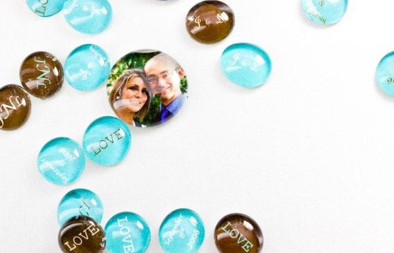 CUSTOM: LARGE PHOTO Glass Gems - Table Confetti & Favors - 20 Large