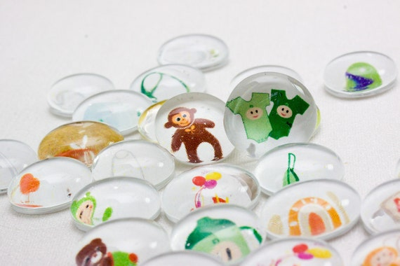 NEUTRAL Baby Shower Glass Gems - Table Confetti & Favors - 35 SMALL