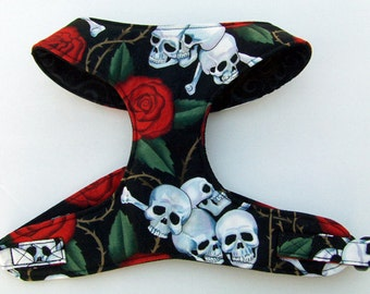 Gothic Skulls and Roses Comfort Soft Dog Harness. - Made to order -
