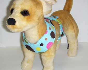 Comfort Soft Harness for Small Dog polka dots - Made to Order -
