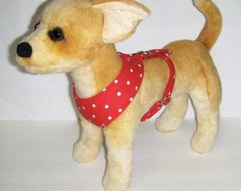 Comfort Soft Harness for Small Dog Red Polka Dots.  - Made to Order -