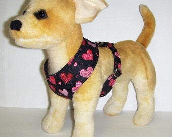 Comfort Soft Harness for Small Dog Valentine, Heart. - Made to Order -