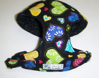 Comfort Soft Dog Harness , Happy Hearts.- Made to Order -