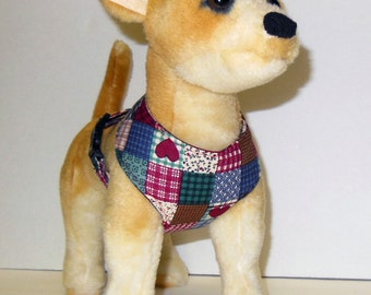 Comfort Soft Harness for Small Dog, Patchwork. - Made to Order -