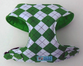 Comfort Soft Dog Harness, Argyle, Kelly Green. - Made to Oder -