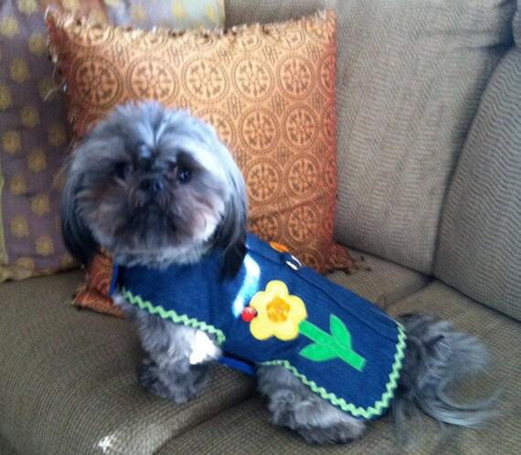 Applique Denim Harness-Vest for Small Dog