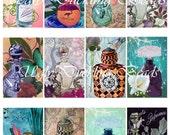 Victorian Perfumes - Vintage - Digital Collage Sheet - 2x3