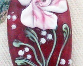 """Lampwork Bead - Pendant Focal- """"Floral Couture"""" Floral Bead SRA"""