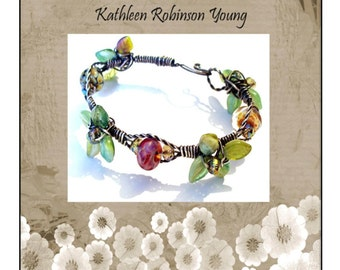 """Bracelet Tutorial - Wire Wrapped bracelet- """"Wired Beads and Leaves""""  SRA"""