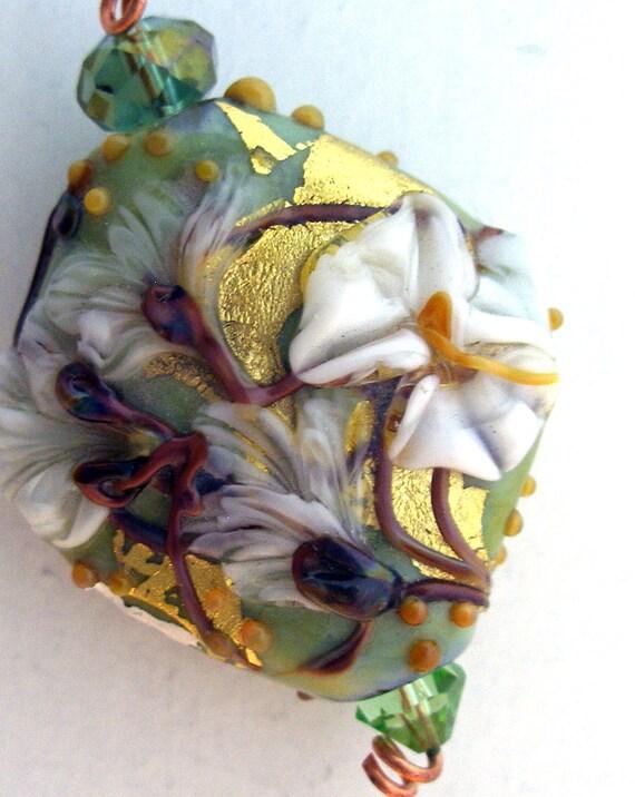 "Lampwork Bead - Pendant Focal- ""Enchanted Garden"" Floral Bead SRA"