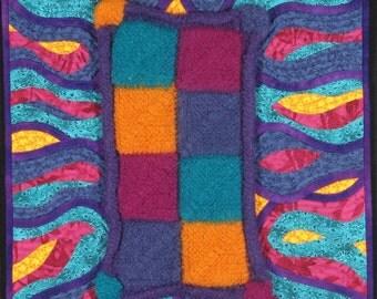 Handmade Art Quilt - FELTED KNIT