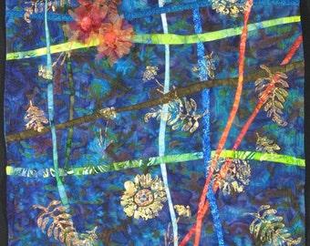 Handmadel Art Quilt - RED FLOWERS