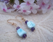 Uplift and Motivate, Healing Stone,  Earrings, larimar, faceted amethyst, 14k gold filled earrings, Natural Gemstone Synergy