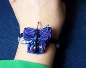 Deep Thought, Beaded Butterfly Pin and Bracelet a 2 in 1 set, Bead weaving, blue brooch, Mini Bead Art Adornment