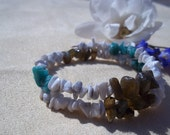 Labradorite, Amazonite, Howlite Bracelet, Healing Stones, Water Earth Love, Ocean Healing, Natural Gemstone Synergy