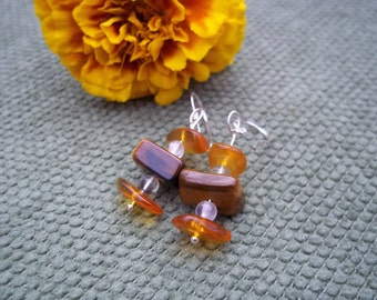 Ultimate Health, Healing Stone, Earrings, Tiger Eye, Amber, Quartz, Sterling Silver, Gemstone Synergy