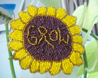 Grow, Beaded Sunflower Barrette, Hair Jewelry, Czech seed beaded french barrette, upcycled, woven, bead embroidery, bead weaving, adornment