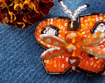 Monarch Beaded Butterfly Barrette, seed bead weaving,embroidery, orange and black, Heavenly Hair Adornment, Monarch Mist