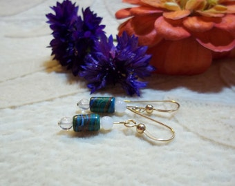 Natural Rainbow Casilica Earrings, Healing Stone Jewelry, Moonstone, Rutilated Quartz, 14k Gold Filled, Gemstone Synergy Earrings