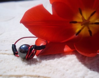 Hematite Ring, Wire Wrapped, Healing Stones, Brain Power, Red Copper, Hair Ring,Natural Gemstone Synergy, Black, Red