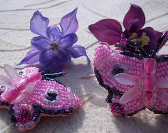 Pink Beaded Butterfly Barrettes, Seed Bead Butterfly Barrette, Beaded Barrette, Heavenly Hair Adornment, Bead Art, 2, pair