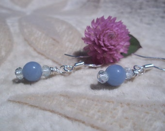 Angelite Earrings, Angels Hold Us Safe, Healing Stones Earrings, Natural Angelite, Aquamarine and Sterling Silver, Gemstone Synergy