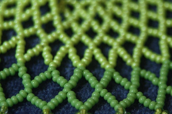 In circles, Gemstone Synergy and Bead Art Adornment, Bead Woven Collar Statement Necklace, Peridot, Aventurine, Seed Bead Jewelry