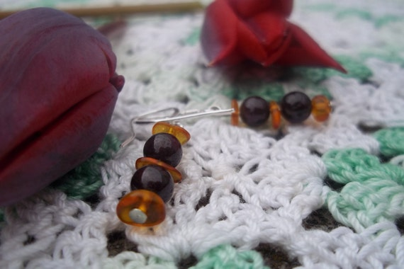 Natural Garnet and Amber Earrings in Sterling Silver, Healing Stones, Gemstone Synergy, We'moon, Woman's Stones