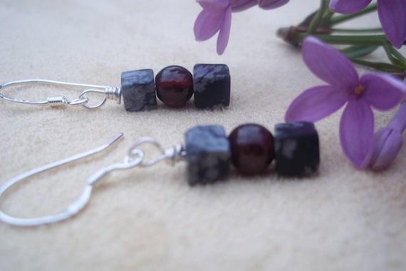 Grief Be Gone, Garnet Snowflake Obsidian Earrings in Sterling Silver, Healing Stone, Wire Wraped Earrings, Ready to Ship, Black, Deep Red
