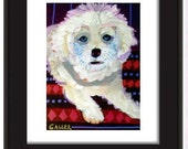 50% Off - Bichon Frise Art Poster art dog Poster Print of painting by Heather Galler (HG177)