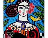 65% Off- Frida TILE Frida Kahlo Art   Mexican Folk Art Ceramic Tile  Gift COASTER