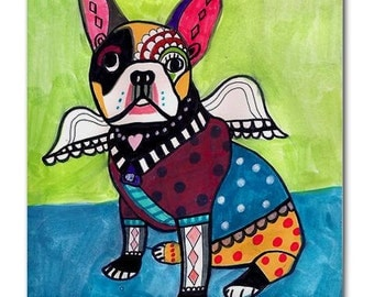 Kitchen Art  FRENCH BULLDOG Gift Decorative Ceramic Tile  French Bulldog Art Angel Modern Abstract Print on Coaster