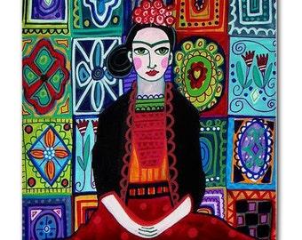 TALAVERA TILE Frida Kahlo Art   Mexican Folk Art Ceramic Tile  Gift COASTER