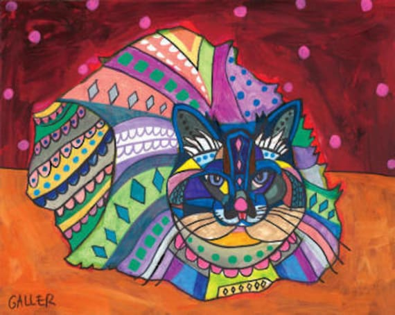 Persian CAT Folk art  Poster Print of painting by Heather Galler (Hg754)
