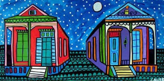 New Orleans art  Poster Print of painting by Heather Galler French Quarter Katrina Cottage Houses