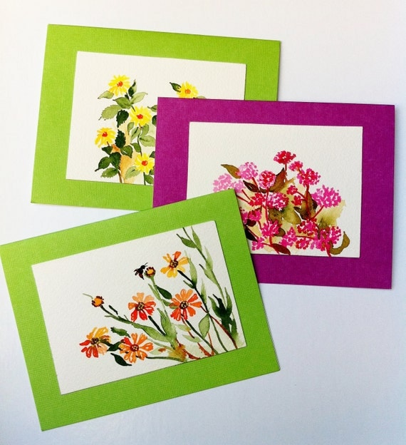 Flower Notecards, Hand Painted Cards, Botanical Art, Flower Paintings, All Occasion card Set of 3, Blank NoteCards, Spring Cards, Thank You