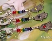 Hand of Fatima Keychain - Chakras in Harmony keyring, Zen Keychain, Chakras Keyring, Yoga Bag Charm, Crystal Purse Charm by LindaGeez